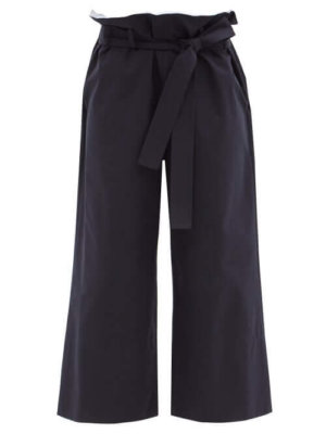Loewe - Paperbag-waist Cotton-gabardine Cropped Trousers - Womens - Navy
