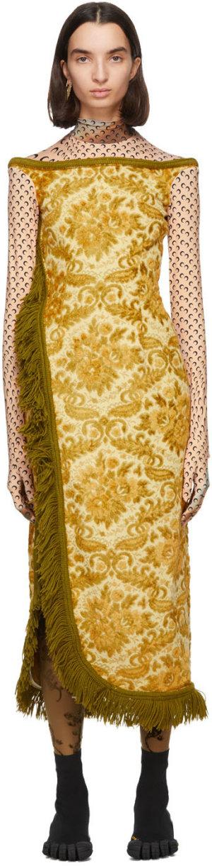 Marine Serre Yellow Regenerated Sexy Carpet Dress