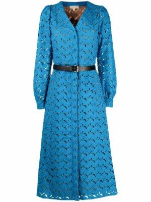 Michael Michael Kors floral-embroidered V-neck dress - Blue