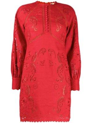 Michael Michael Kors floral-embroidered hemp mini dress