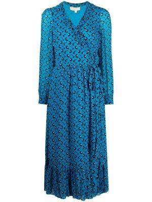 Michael Michael Kors floral-print wrap dress - Blue