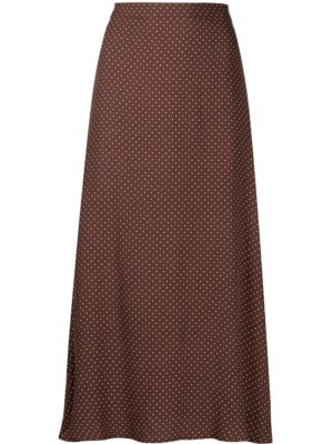 Reformation Bea dotted midi skirt - Brown