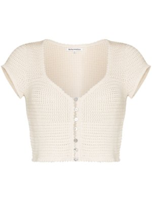 Reformation Caterina knitted cropped top - Neutrals