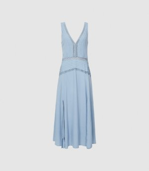 Reiss Alberta - Pleat Detailed Midi Dress in Blue, Womens, Size 4