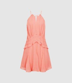 Reiss Belle - Chiffon Ruffle Mini Dress in Pink, Womens, Size 4