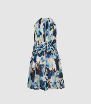 Reiss Belle - Printed Ruffle Mini Dress in Blue, Womens, Size 4