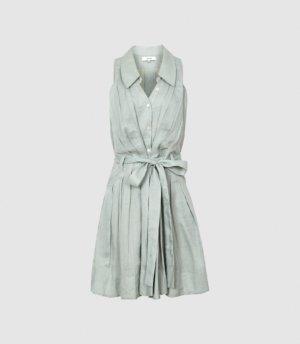 Reiss Carlotta - Button Through Mini Dress in Sage, Womens, Size 4