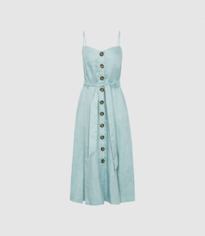 Reiss Catalina - Linen Button-up Midi Dress in Sage, Womens, Size 4