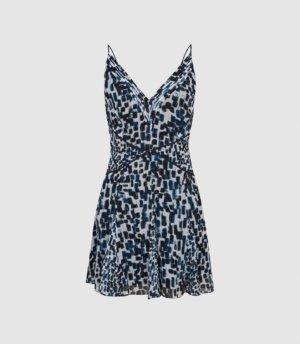 Reiss Cressida - Printed Mini Dress in Blue, Womens, Size 4