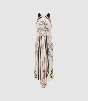 Reiss Grace - Scarf Print Midi Dress in Pink, Womens, Size 4