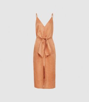Reiss Kay - Linen Midi Dress With Tie Detail in Coral, Womens, Size 4