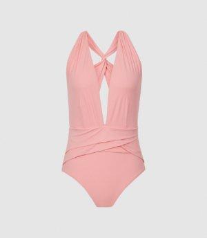 Reiss Liesel - Twist Detail Halterneck Swimsuit in Pink, Womens, Size 4