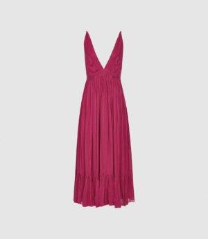 Reiss Marie - Striped Midi Dress in Pink, Womens, Size 4