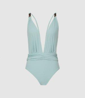 Reiss Millie - Plunge Neck Swimsuit in Mint, Womens, Size 4