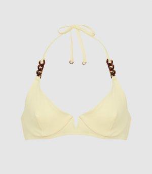 Reiss Myra - Underwired Halterneck Bikini Top in Yellow, Womens, Size 4