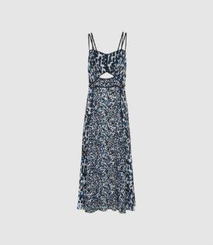Reiss Nerissa - Printed Midi Dress in Blue, Womens, Size 4