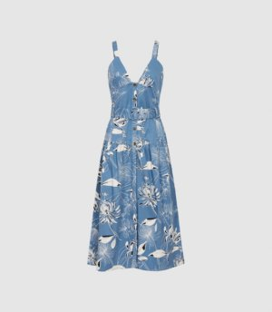 Reiss Noah - Printed Button Through Midi Dress in Blue, Womens, Size 4