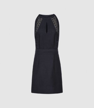 Reiss Rhona - Embroidered Mini Dress in Navy, Womens, Size 4
