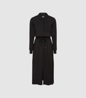Reiss Rosie - Midi-length Shirt Dress in Black, Womens, Size 4