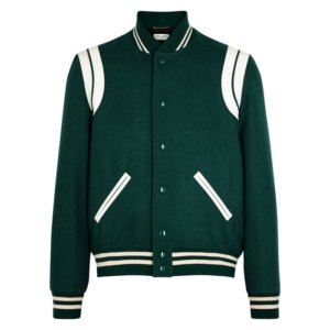 Saint Laurent Dark Green Wool-blend Bomber Jacket
