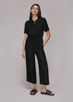 Whistles Women Button Front Linen Jumpsuit