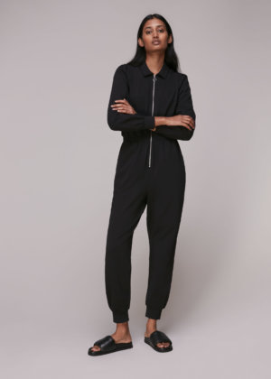 Whistles Women Jersey Zip Front Jumpsuit