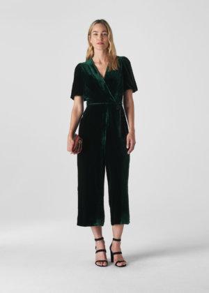 Whistles Women Layla Silk Velvet Jumpsuit