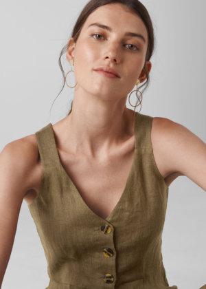 Whistles Women Liza Linen Button Jumpsuit