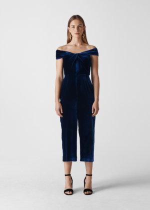 Whistles Women Velvet Silk Mix Jumpsuit