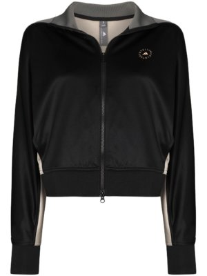 adidas by Stella McCartney stripe-pattern zip-up track jacket - Black