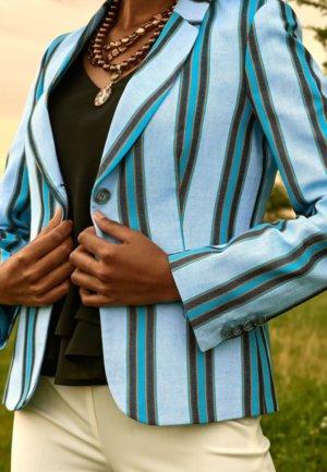 Blue Striped Sporting Jacket Ladies Jackets Koy Clothing
