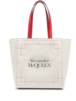 Alexander McQueen Signature debossed-logo tote bag - Neutrals