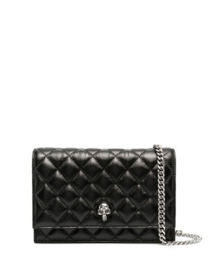 Alexander McQueen diamond quilted shoulder bag - Black