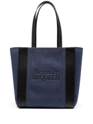 Alexander McQueen logo embossed tote bag - Blue