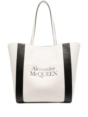 Alexander McQueen logo-print two-tone tote bag - Neutrals