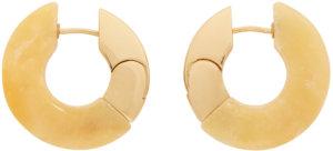Bottega Veneta Gold & Beige Aventurine Hoop Earrings