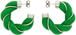 Bottega Veneta Green & Silver Leather Twist Hoop Earrings
