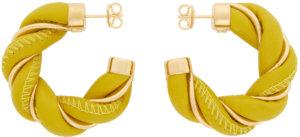 Bottega Veneta Yellow & Gold Leather Twist Hoop Earrings