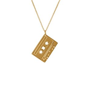Edge Only - Men'S Mixed Tape Pendant In Gold A Cassette Tape Necklace With A Heavy Curb Chain