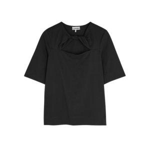 Ganni Black Twist-effect Cotton T-shirt