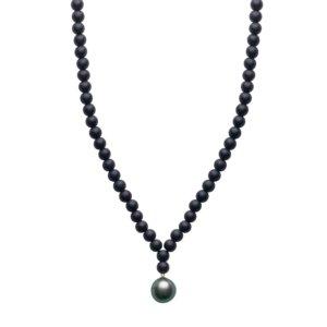ORA Pearls - ARO Men's Large Tahitian Pearl & Onyx Necklace