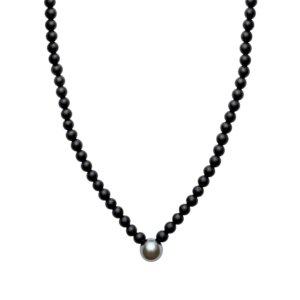 ORA Pearls - ARO Men's Round Tahitian Pearl & Matt Onyx V Shape Necklace