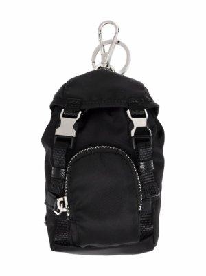 Prada Re-Nylon backpack keyring - Black