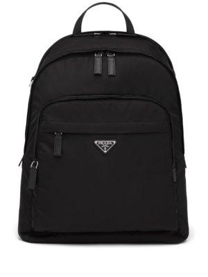 Prada Re-Nylon logo-plaque backpack - Black