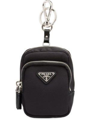 Prada Saffiano backpack keyring - Black