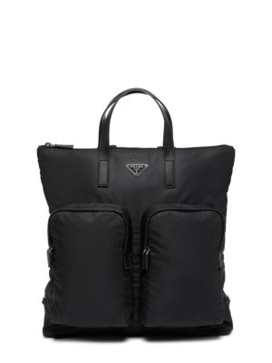 Prada large logo-plaque backpack - Black