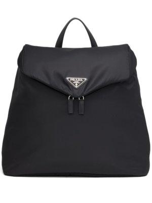 Prada logo-plaque backpack - Black