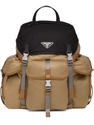 Prada logo plaque backpack - Brown