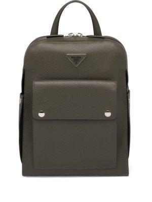 Prada logo plaque backpack - Green