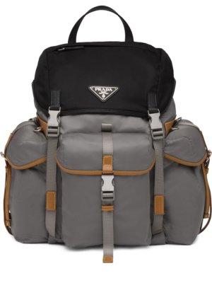 Prada logo plaque backpack - Grey